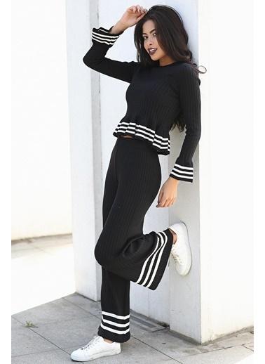 Womenice Womenice Kadın Çizgili Triko Pantolon Siyah